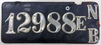 Nebraska license plate from 1903-1914