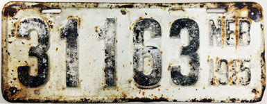 Nebraska license plate from 1915