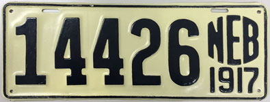 Nebraska license plate from 1917
