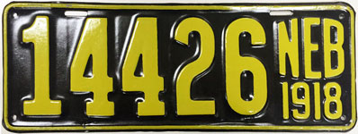 Nebraska license plate from 1918