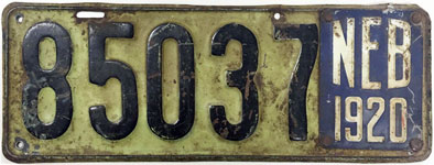 Nebraska license plate from 1919-1920