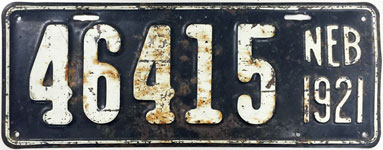 Nebraska license plate from 1921