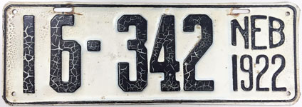 Nebraska license plate from 1922