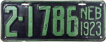 Nebraska license plate from 1923
