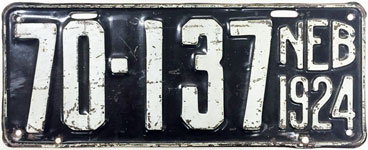 Nebraska license plate from 1924