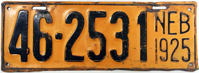 Nebraska license plate from 1925