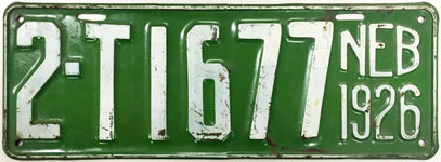 Nebraska license plate from 1926