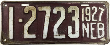 Nebraska license plate from 1927