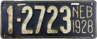 Nebraska license plate from 1928
