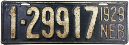 Nebraska license plate from 1929