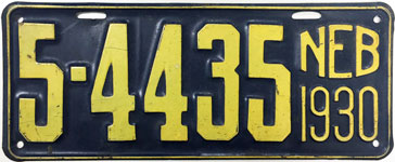 Nebraska license plate from 1930
