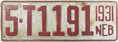 Nebraska license plate from 1931