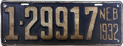 Nebraska license plate from 1932