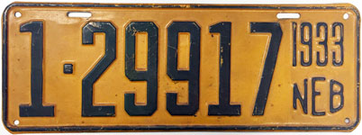 Nebraska license plate from 1933