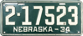 Nebraska license plate from 1934