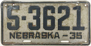 Nebraska license plate from 1935