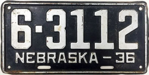 Nebraska license plate from 1936