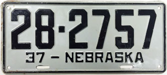 Nebraska license plate from 1937
