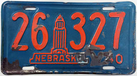 Nebraska license plate from 1940
