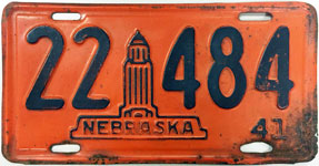 Nebraska license plate from 1941
