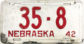 Nebraska license plate from 1942