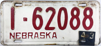 Nebraska license plate from 1943-1944