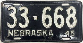 Nebraska license plate from 1945