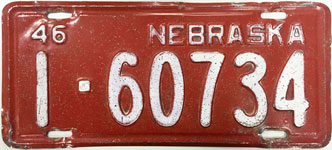 Nebraska license plate from 1946