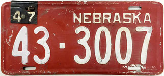Nebraska license plate from 1947