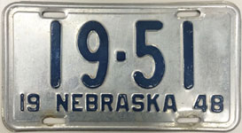 Nebraska license plate from 1948