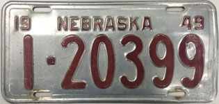 Nebraska license plate from 1949
