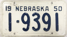Nebraska license plate from 1950