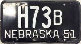 Nebraska license plate from 1951