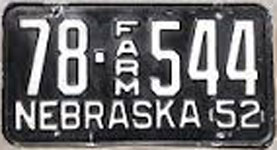 Nebraska farm license plate from 1952