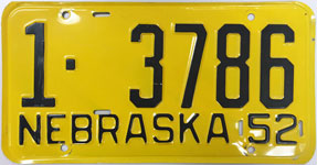 Nebraska license plate from 1952