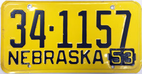 Nebraska license plate from 1953