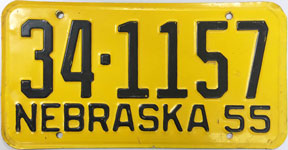 Nebraska license plate from 1955