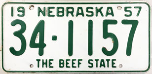 Nebraska license plate from 1957