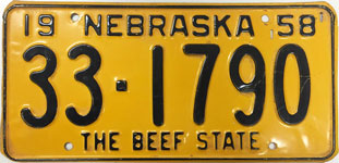 Nebraska license plate from 1958