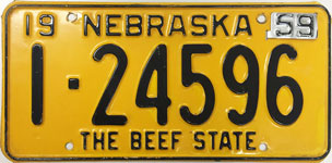 Nebraska license plate from 1959