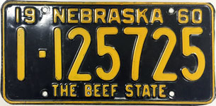 Nebraska license plate from 1960