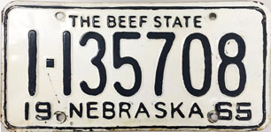 Nebraska license plate from 1965