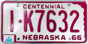 Nebraska license plate from 1966-1968