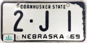 Nebraska license plate from 1969-1971