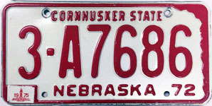 Nebraska license plate from 1972-1975