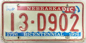 Nebraska license plate from 1976 - 1983
