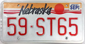 Nebraska license plate from 1987 - 1989