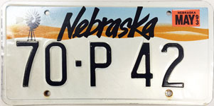 Nebraska license plate from 1990 - 1992