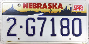 Nebraska license plate from 1993 - 1995