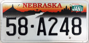 Nebraska license plate from 1996 - 1998